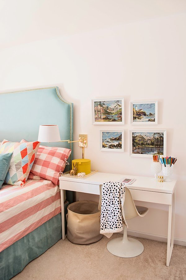 Paint by Numbers girl's room desk area via Cuckoo4Design