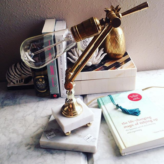 Thrift Score Thursday feature vintage brass and marble desk lamp via secondhandglam
