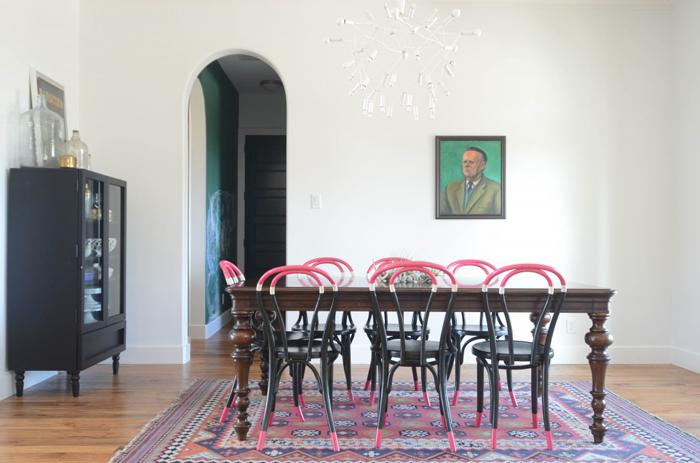 Vintage oil portrait in dining room via Wills Casa
