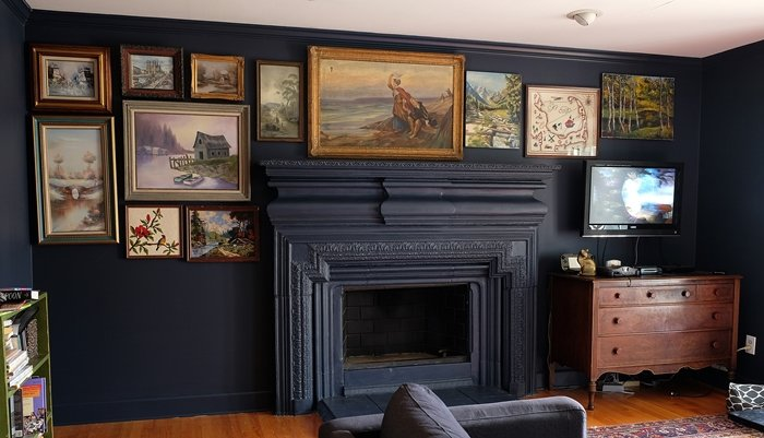 vintage oil painting gallery wall via boxy colonial 2