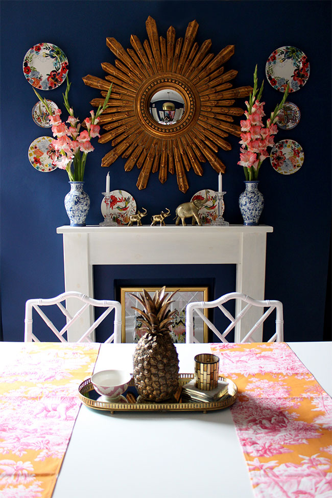 Trio of brass animals on the dining room mantel via Swoon Worthy | The ABC's of Gathering: B is for Brass