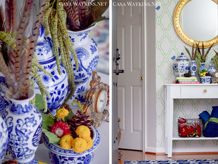 Entry table vignette with blue and white Chinoiserie pottery via Casa Watkins