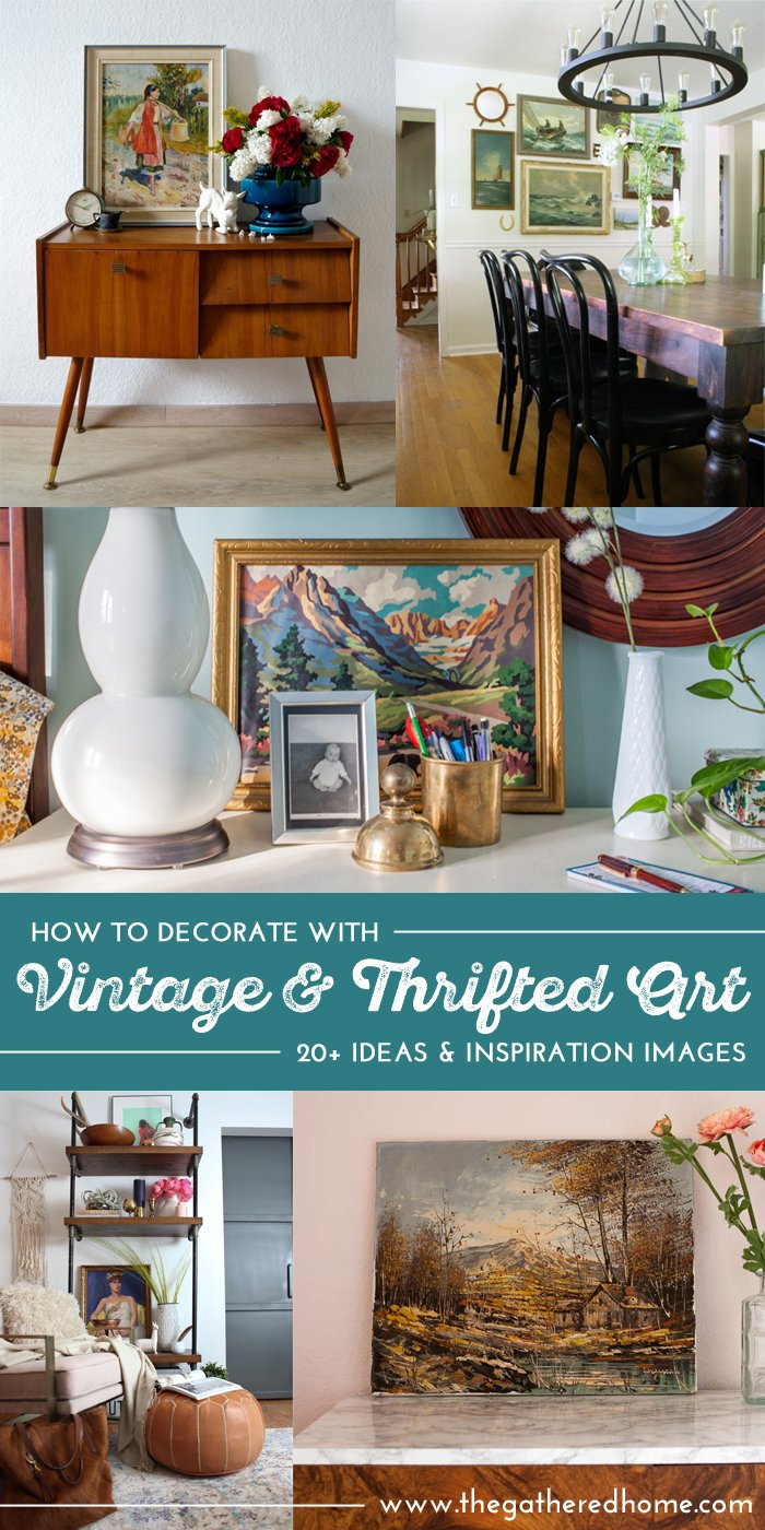 This huge resource is full of THE BEST eye candy & inspiration on how to decorate your home with vintage, thrifted & found art!