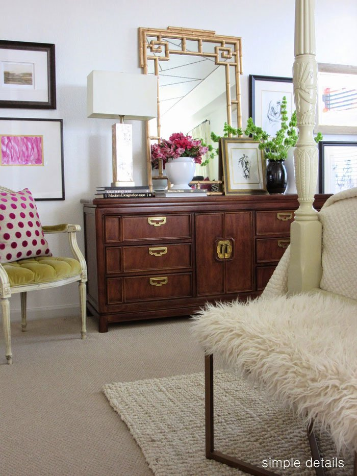 Ming style dresser and gold bamboo mirror via Simple Details