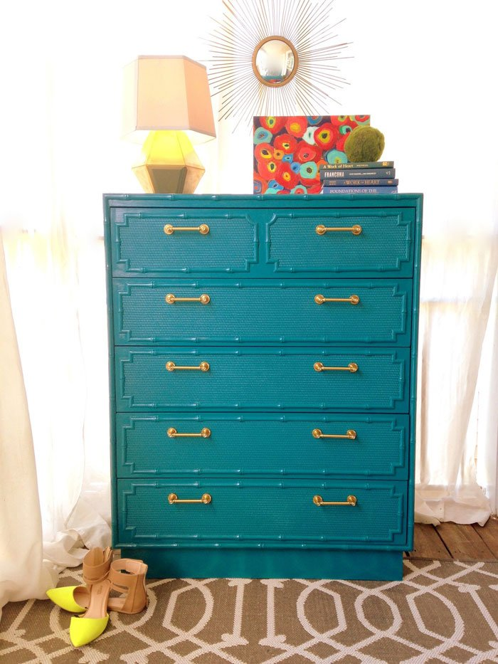 Peacock teal faux bamboo dresser makeover via Style Mutt Home
