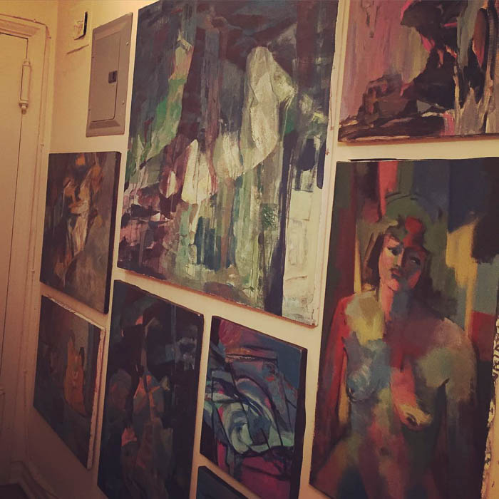Thrift Score Thursday feature art wall with paintins by Laura Schiavina via casacavaliere
