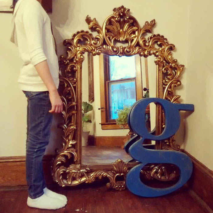 Thrift Score Thursday feature giant gold mirror and G via handbagspigtails