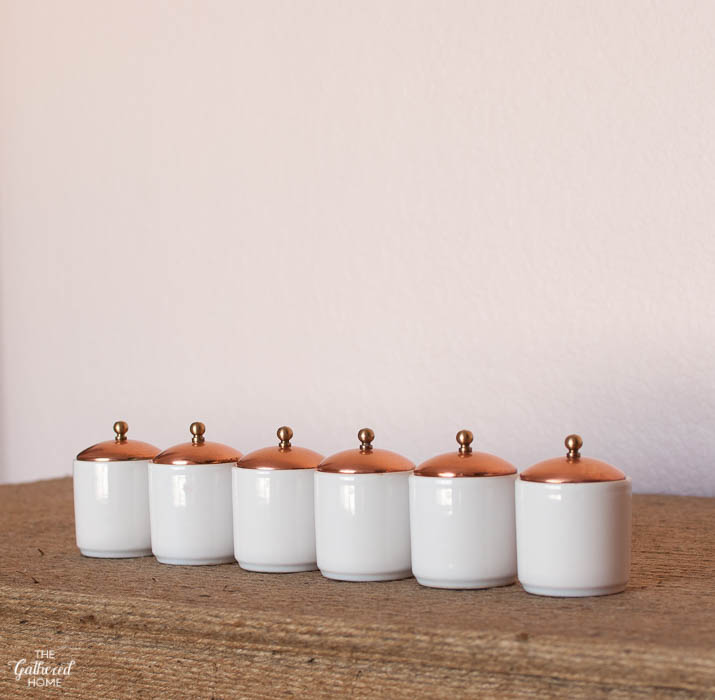 Thrift Score Thursday white ceramic and copper top miniature canisters-3
