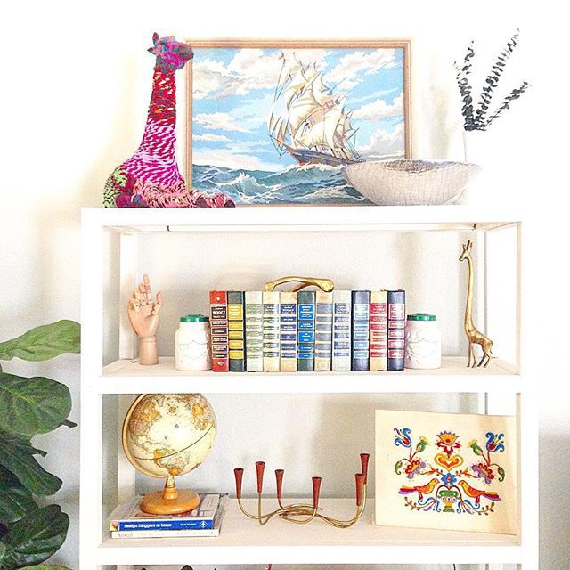 Vintage brass shelf styling via themagpiecollective on Instagram