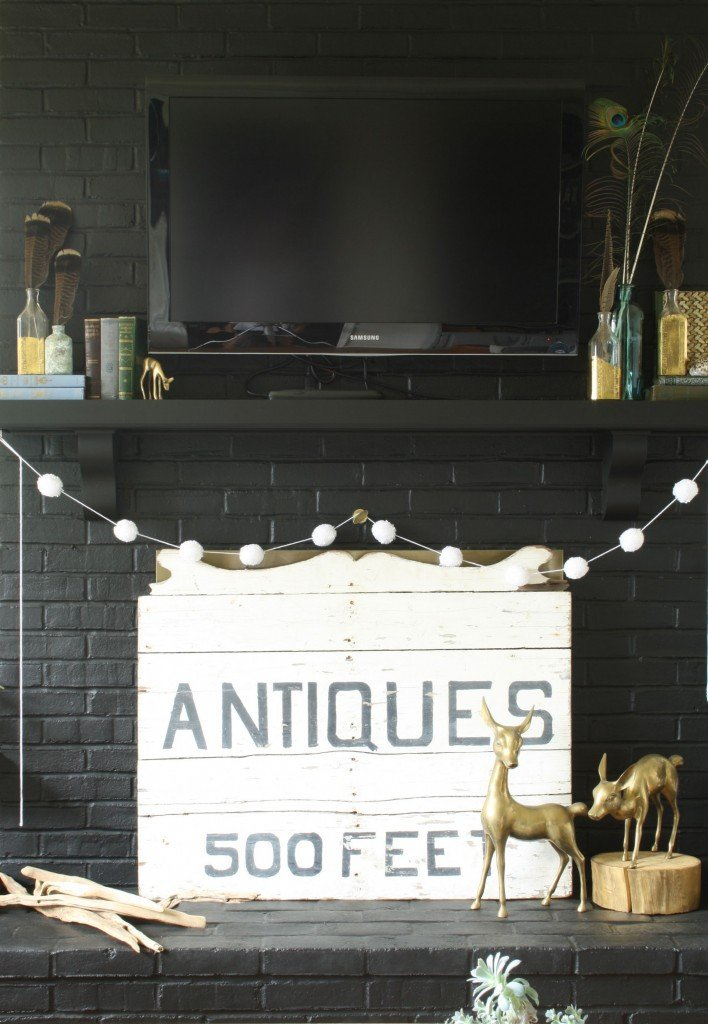 brass deer fireplace mantel via Primitive & Proper