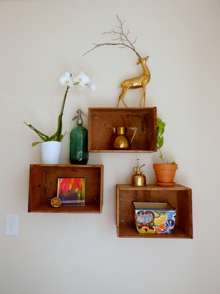 brass deer shelf display via Style Mutt Home