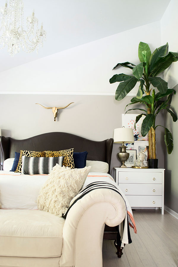 Brass skull over the bed via Cuckoo4Design | The ABC's of Gathering: B is for Brass