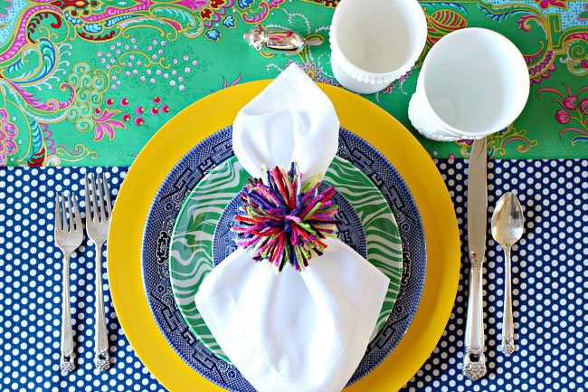 Colorful Easter Table Setting via Dimples & Tangles