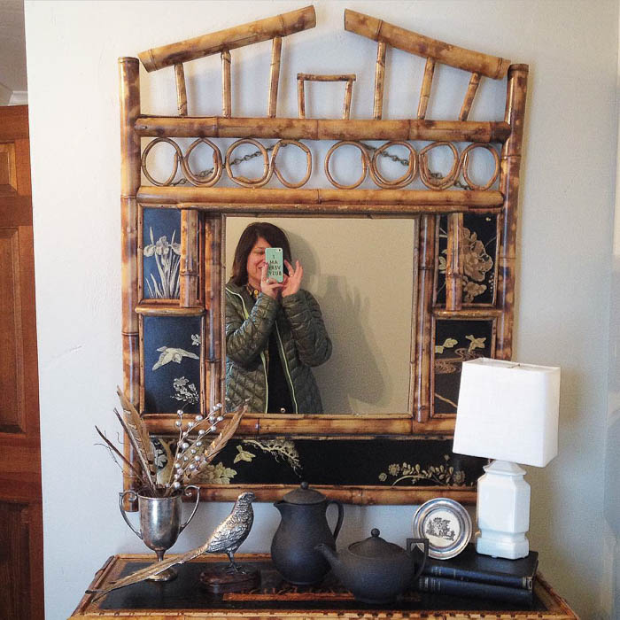 Thrift Score Thursday feature chinoiserie bamboo mirror via findernotkeeper