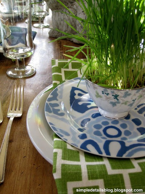 Vintage teacup wheatgrass place setting via Simple-Details
