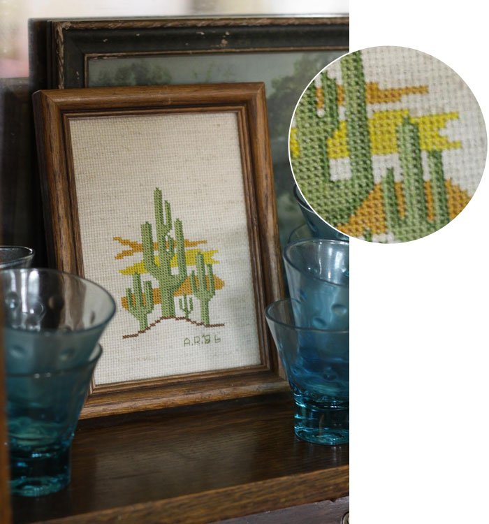 Cactus Cross Stitch detail via Cassie Bustamante, Primitive and Proper