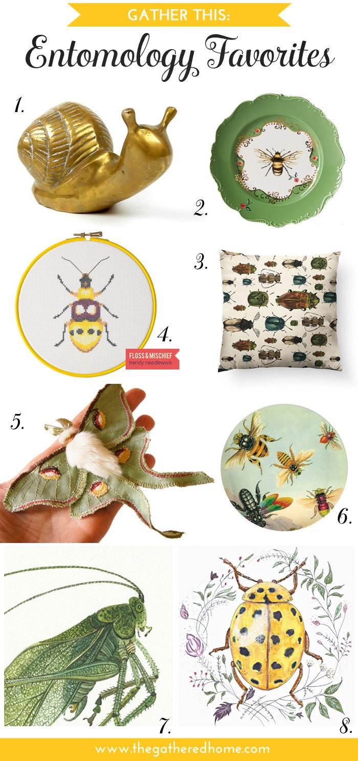 The use of insect motifs in decor has a long and fascinating history. Channel some of that vintage wonder with these entomology home decor favorites from The Gathered Home!