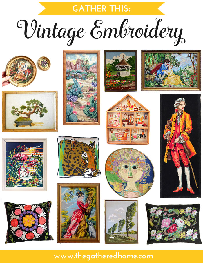 The most stylish, adorable, and perfect vintage embroidery pieces out there! Perfect for adding some whimsy + color to your home!