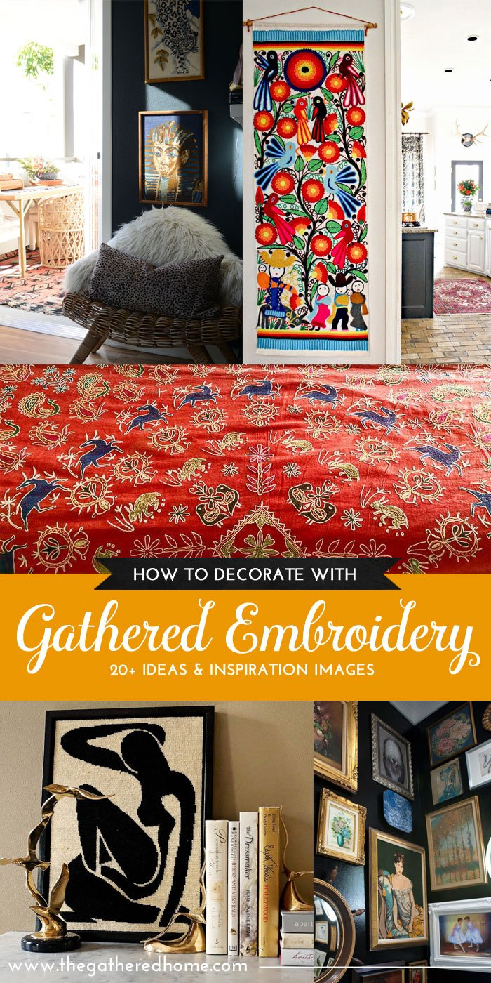 I LOVE vintage embroidery! This guide is full of inspiring ideas for decorating with embroidery and helpful information on identifying different types of found embroidery! The ABC's of Gathering | The Gathered Home
