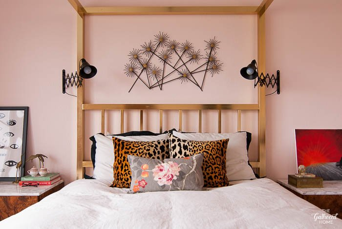 Blush Pink Master Bedroom Tour - leopard, florals, brass | The Gathered Home