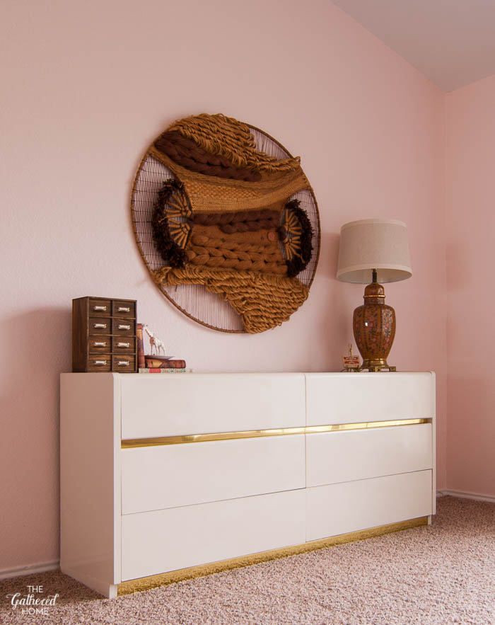 Blush Pink Master Bedroom Tour - vintage dresser, Don Freedman wall hanging | The Gathered Home