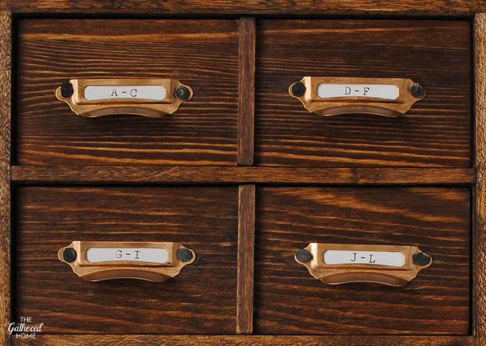Blush Pink Master Bedroom Tour - DIY miniature card catalog closeup | The Gathered Home