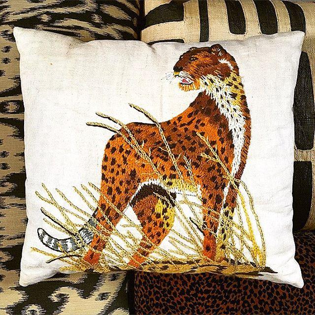 Thrift Score Thursday feature embroidered leopard pillow via mariaski63