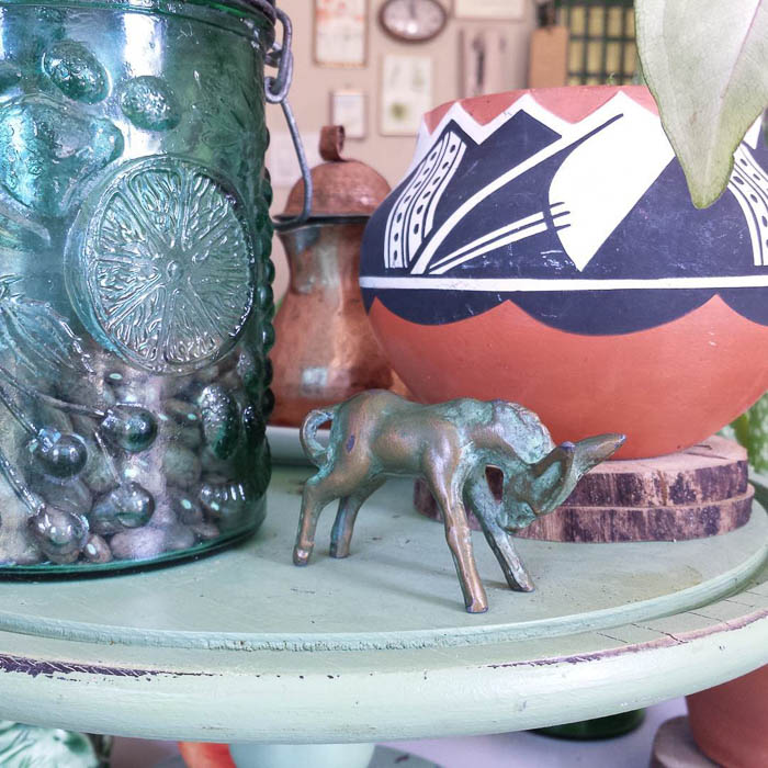 Thrift Score Thursday feature little metal donkey via thistleblooms