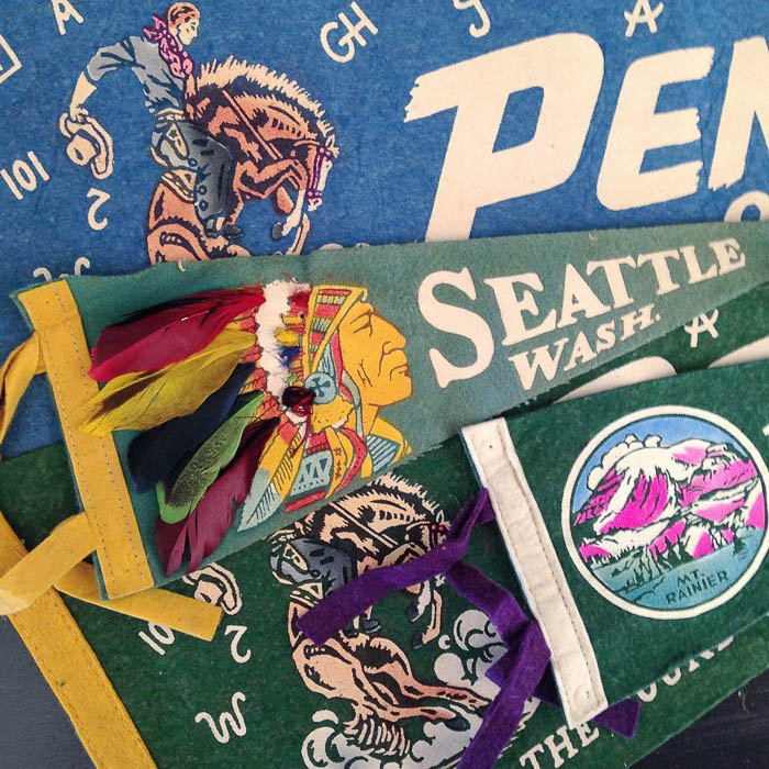 Thrift Score Thursday feature vintage pennants via averielaneblog