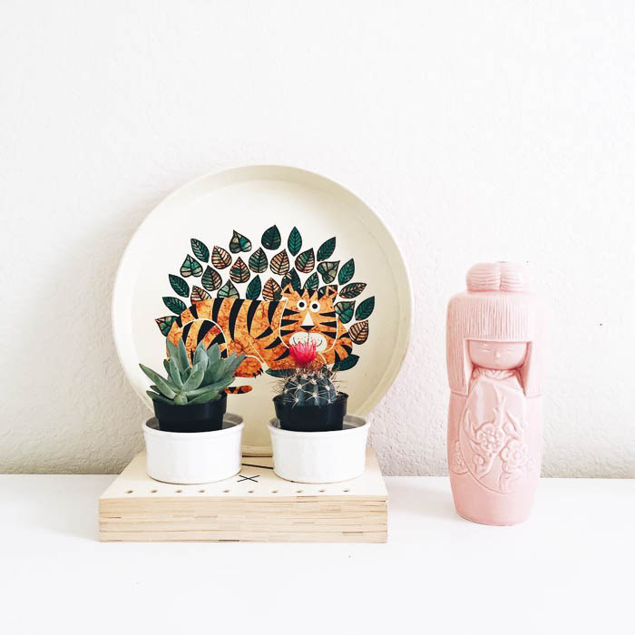 Thrift Score Thursday feature vintage tin tiger tray and pink ceramic Asian figure via steadyfeelinirie