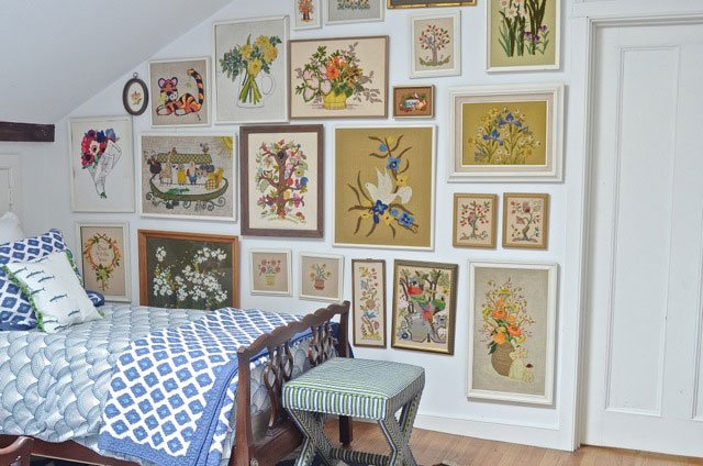 Vintage Embroidery Gallery wall via Ciburbanity