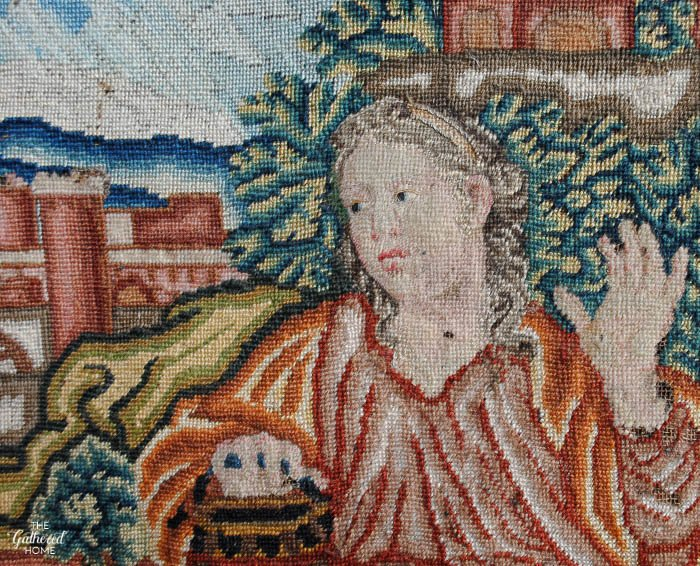 Vintage French needlepoint - The Woman at the Well; closeup detail of face. The ABC's of Gathering | The Gathered Home
