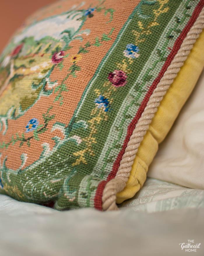 Vintage Needlepoint Pillow detail - Cottage & landscape - Thrift Score Thursday
