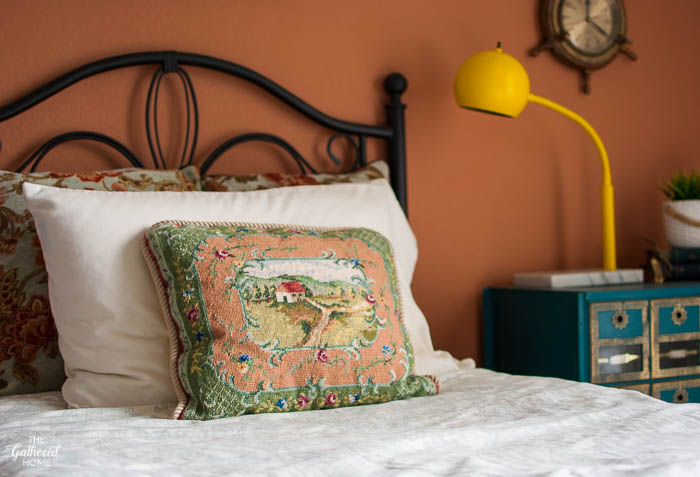 Vintage Needlepoint Pillow - Cottage & landscape - Thrift Score Thursday