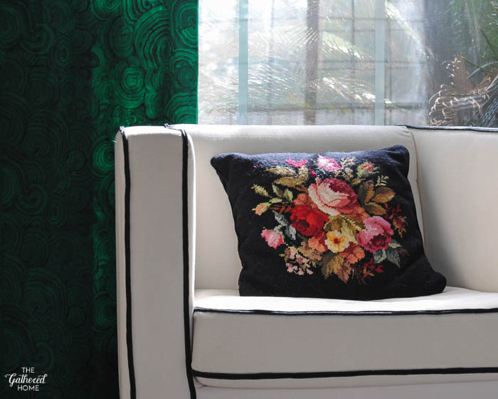 Vintage black floral needlepoint pillow. The ABC's of Gathering   The Gathered Home