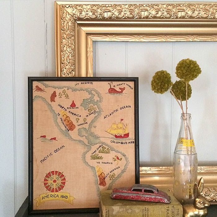 Vintage embroidered map via Robb Restyle