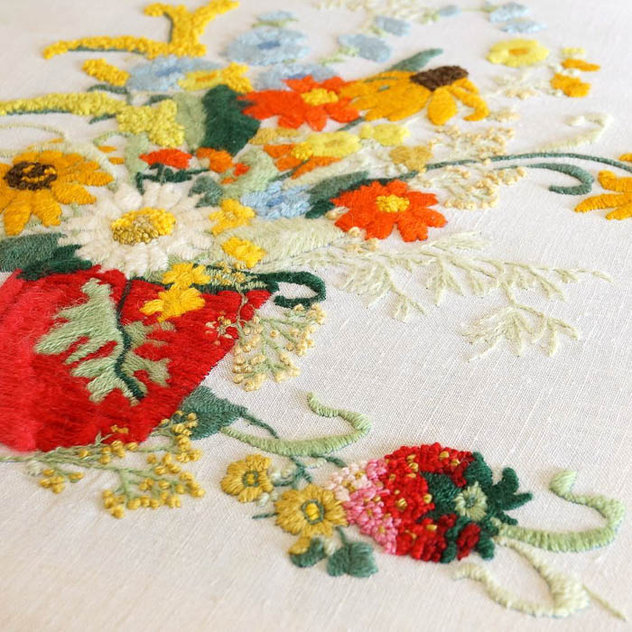 Vintage floral free embroidery detail via Maggie Overby Studios
