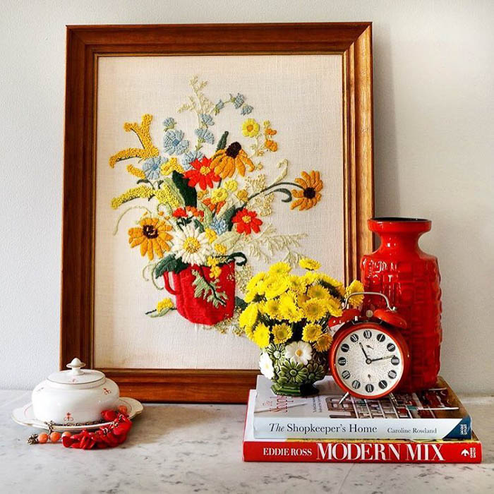 Vintage floral embroidery via Maggie Overby Studios