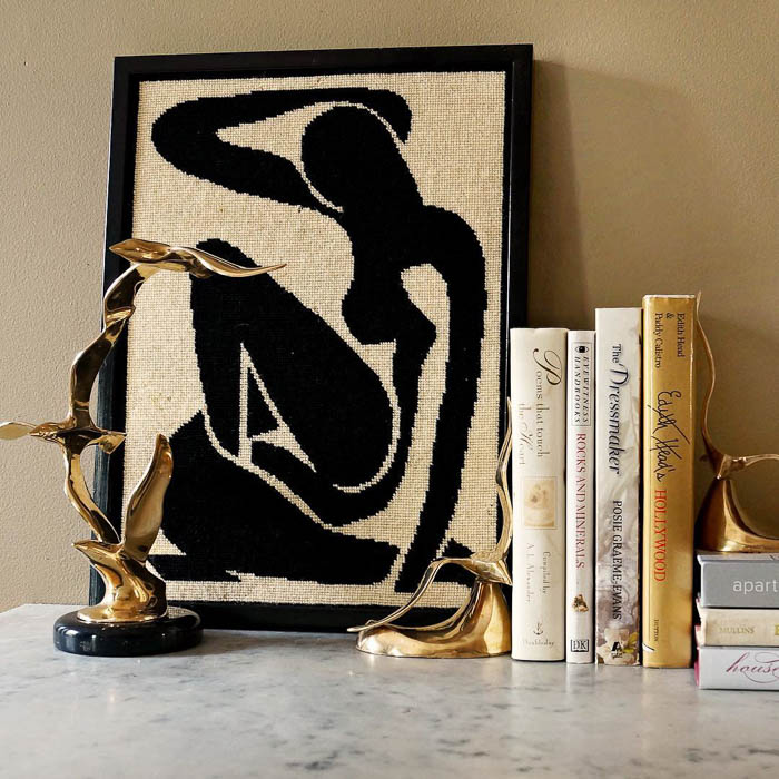 Vintage Matisse blue nude needlepoint via Maggie Overby Studios