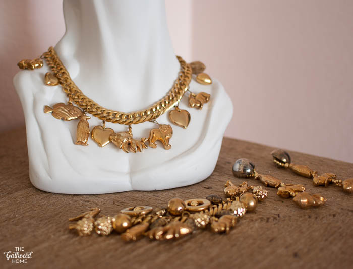 Thrift Score Thursday Gold Animal Charm Necklace Bracelet and Earrings-5