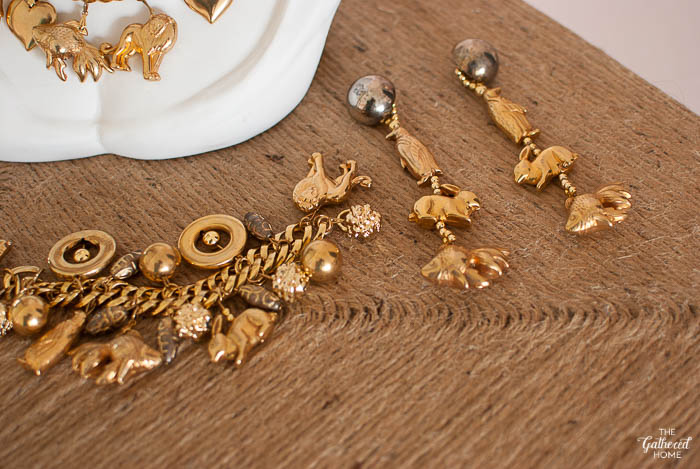 Thrift Score Thursday Gold Animal Charm Necklace Bracelet and Earrings-6