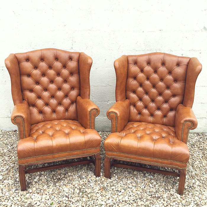 Thrift Score Thursday feature tufted leather chairs via thriftedriches