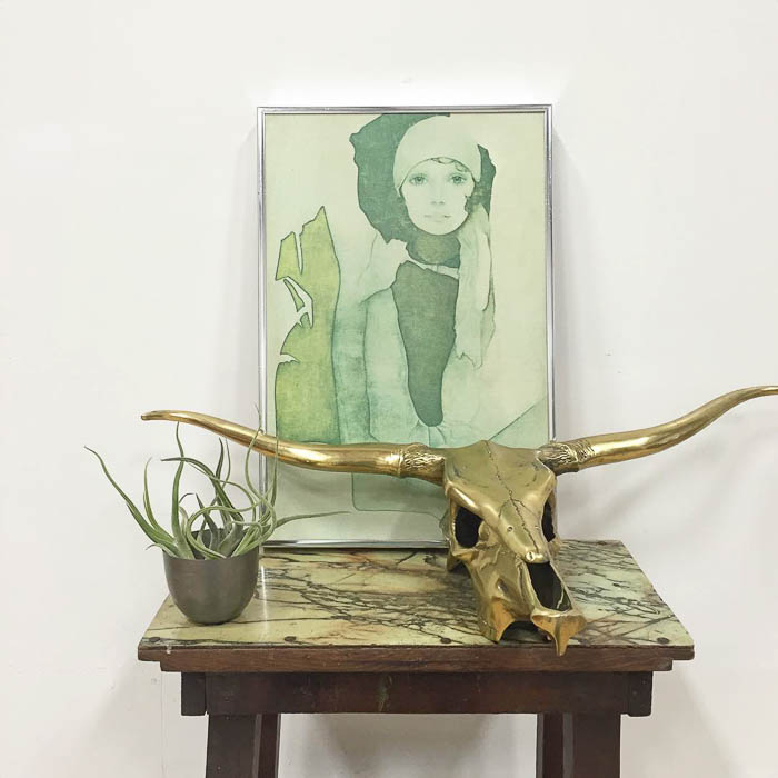 Thrift Score Thursday feature vintage art brass skull via golddustgoods