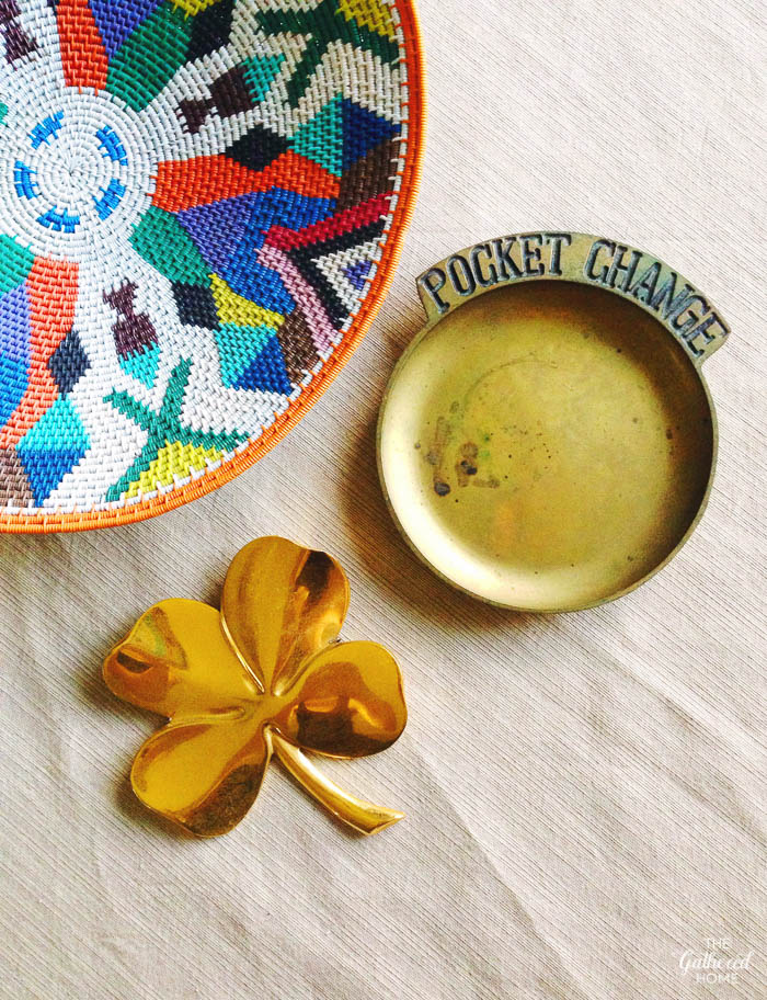 Thrift Score Thursday woven bowl vintage brass pocket change bowl gold four leaf clover
