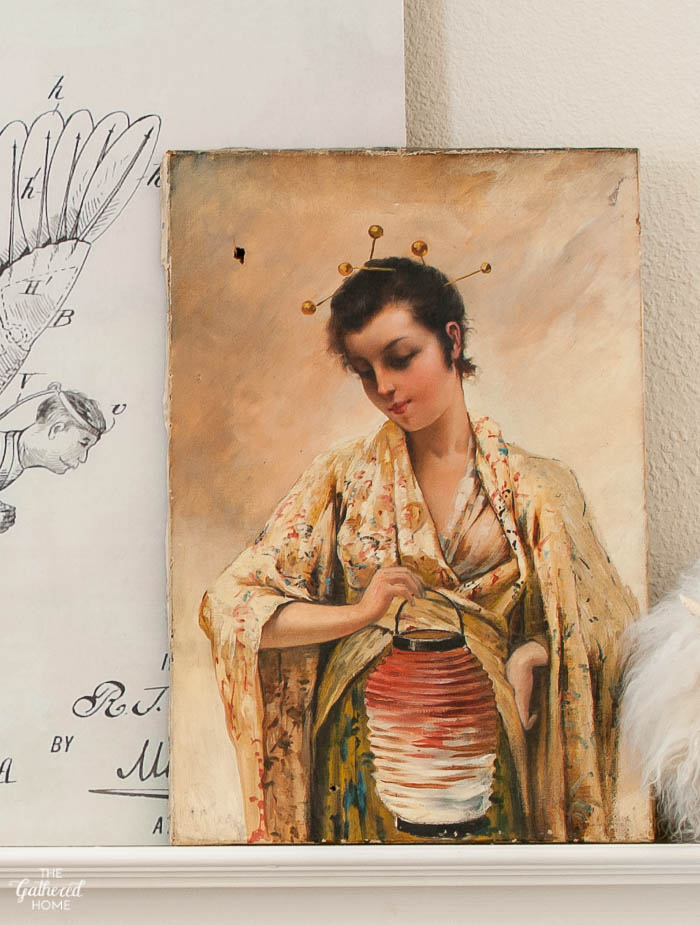 Antique painting woman in kimono actress dorothea antel