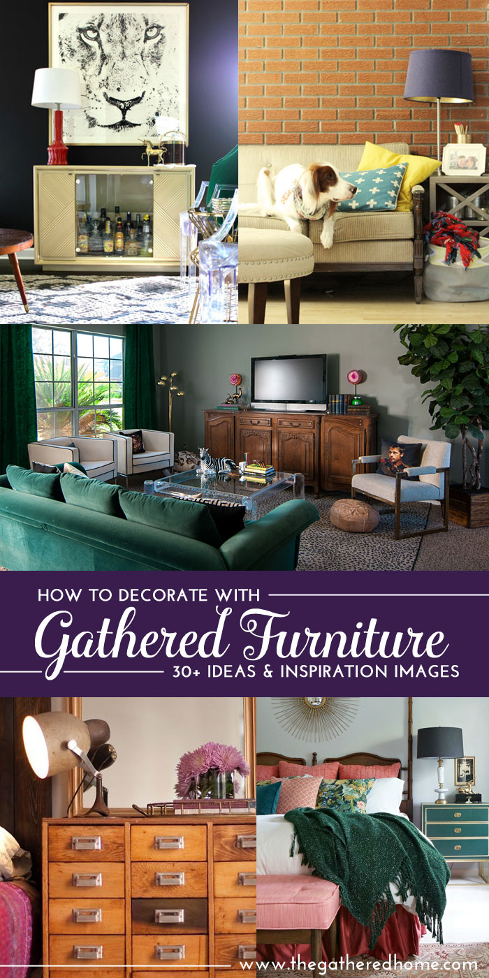 TONS of inspiration for decorating with gathered (vintage, thrifted, found) furniture! Get the inside scoop on these home decor bloggers' BEST finds and WHERE to look to score your own treasures!
