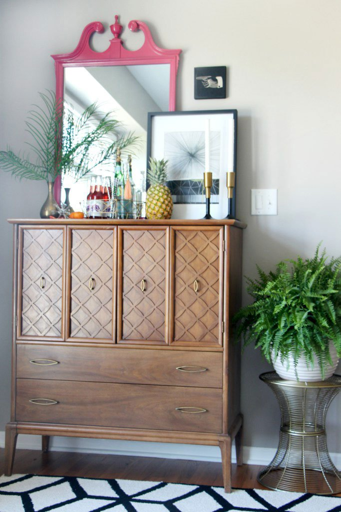 Mid Century Modern dresser turned bar via This Is Our Bliss