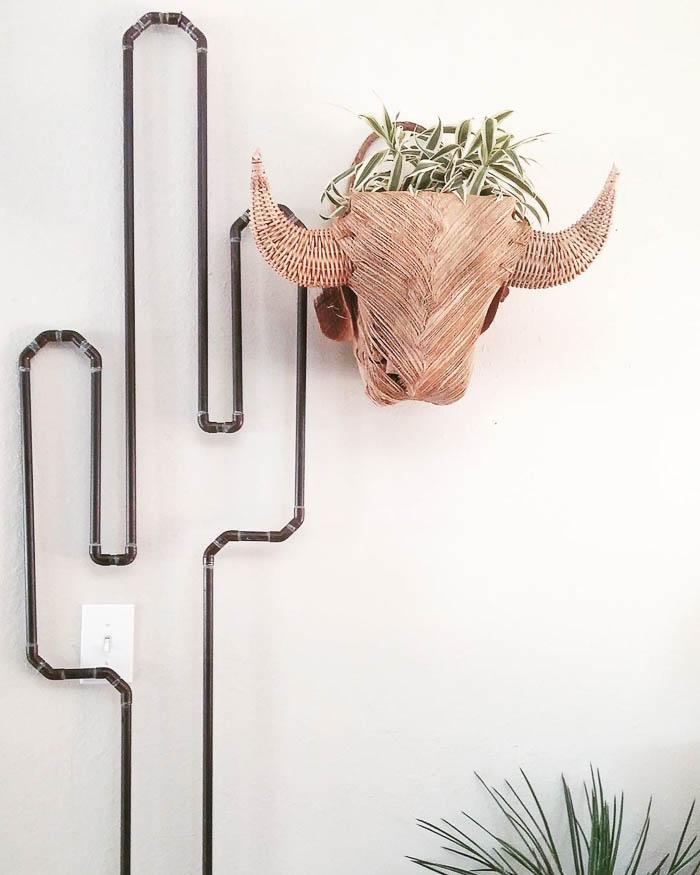 Thrift Score Thursday feature copper cactus basket weave buffalo head via liz_kamarul