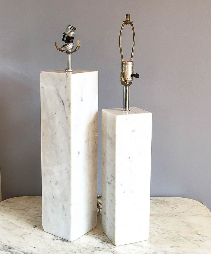 Thrift Score Thursday feature pair marble lamps via hotcoolvintage