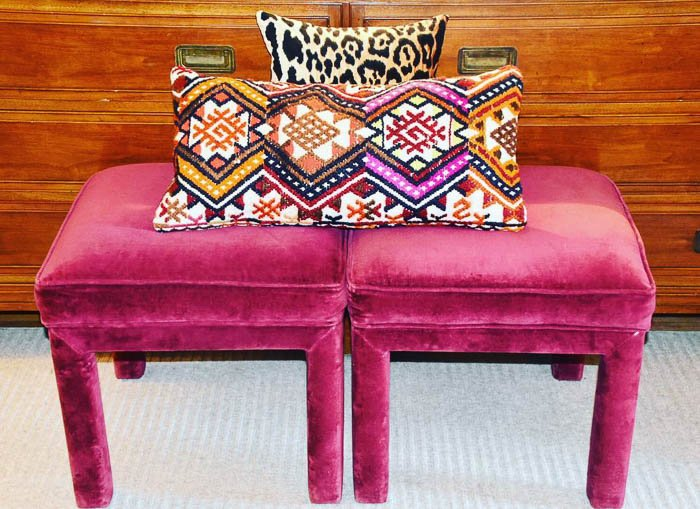 Thrift Score Thursday feature velvet upholstered stools trash find via dianerath